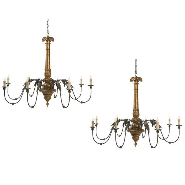Two Giltwood and Tole Eight-Arm Chandeliers of Large Scale For Sale - Image 4 of 5