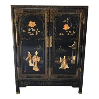 Vintage Asian Cabinet/Server/Bar Asian Motif For Sale