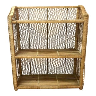 1970s Woven Rattan Three Shelves Bookcases