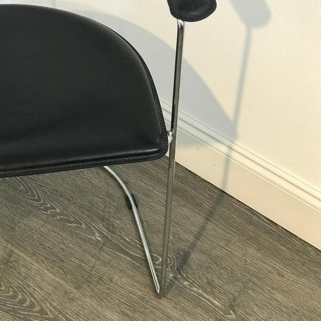 Five Italian Chrome and Black Leather Cantilever Armchairs, Handmade by Frag For Sale - Image 9 of 13