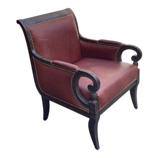 1990s Vintage Century Leather Carved Wood Chair For Sale