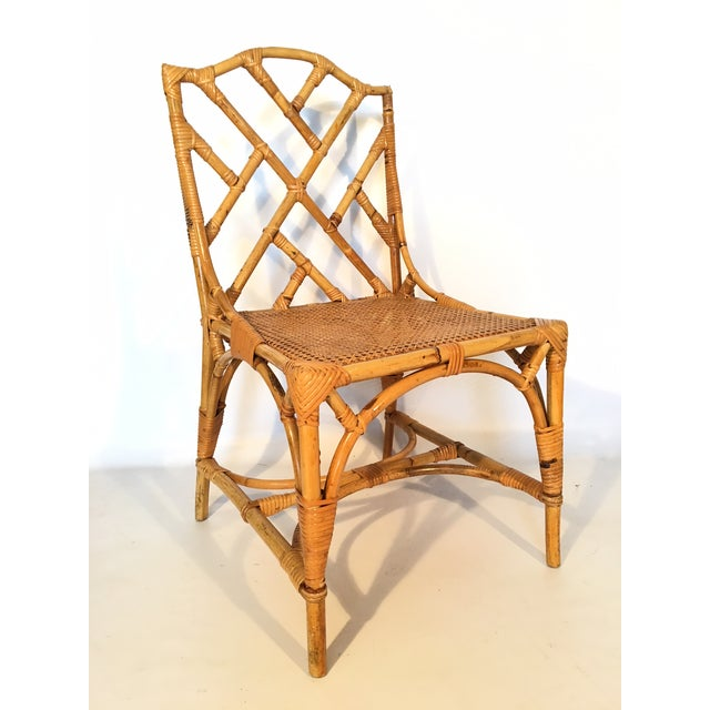 Asian Bamboo Chinese Chippendale Cockpen Cane Seat Dining Chairs - Set of 10 For Sale - Image 3 of 13