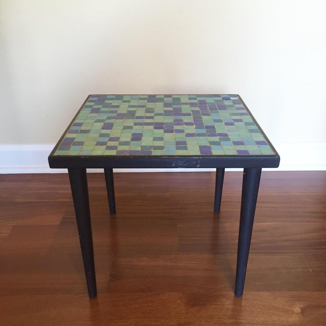 This fantastic glass mosaic side table would be perfect as a plant stand near a sunny window! Tapered legs, and mosaic...