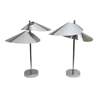 Curtis Jere Double Sided 'Visor' Table Lamps in Chrome, A Pair