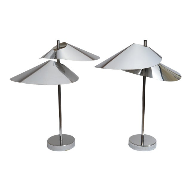 Curtis Jere Double Sided 'Visor' Table Lamps in Chrome, A Pair For Sale