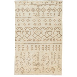 Ivory Moroccan Tribal Rug For Sale