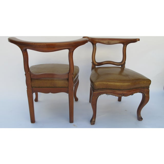 English Regency Leather Side Chairs - Pair - Image 3 of 5