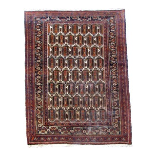 1920s Handmade Antique Persian Afshar Rug- 4′7″ × 6′1″ For Sale
