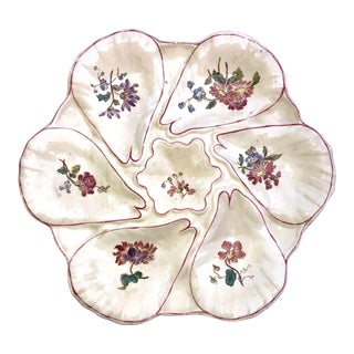French Majolica Oyster Plate Longchamp, Circa 1900 For Sale