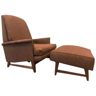 Reclining Lounge Chair and Ottoman by Selig For Sale