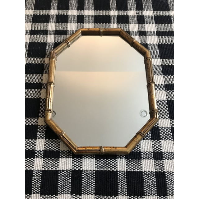 Hollywood Regency Faux Bamboo Gold Mirror For Sale In Minneapolis - Image 6 of 6