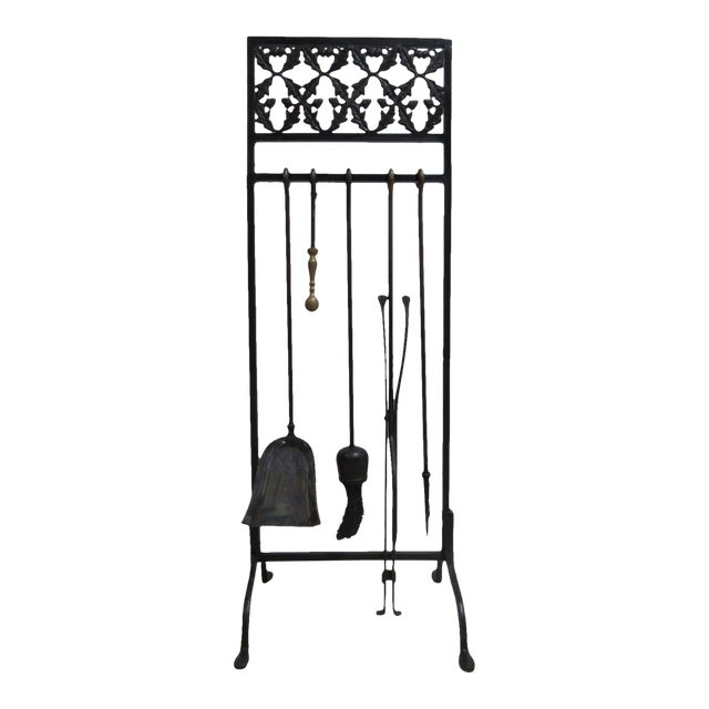 Vintage Wrought Iron Acorn Fireplace Tool Holder Set For Sale