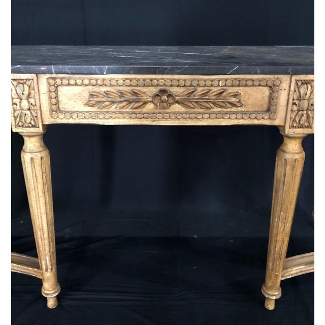 French Louis XVI Style Console Table With Marble Top For Sale In Naples, FL - Image 6 of 13