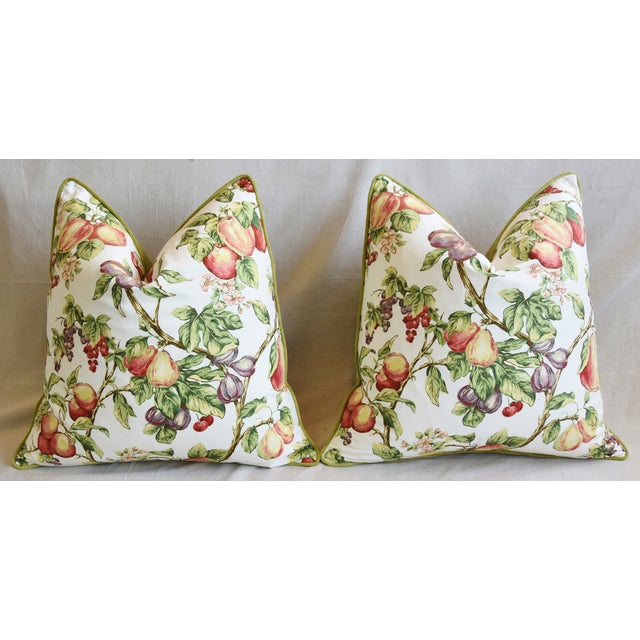"P. Kaufmann Bountiful Fruit Feather/Down Pillows 24"" Square - Pair For Sale In Los Angeles - Image 6 of 13"