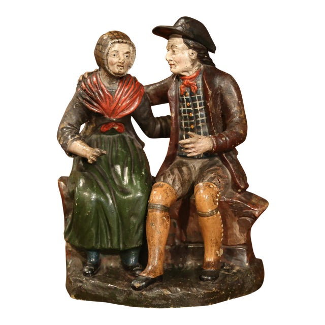 19th Century French Hand-Painted Ceramic Sculpture of Old Couple For Sale