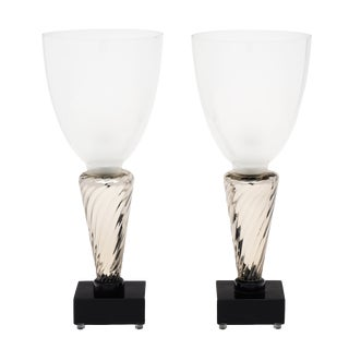 Murano Glass Silver Torchère Lamps For Sale
