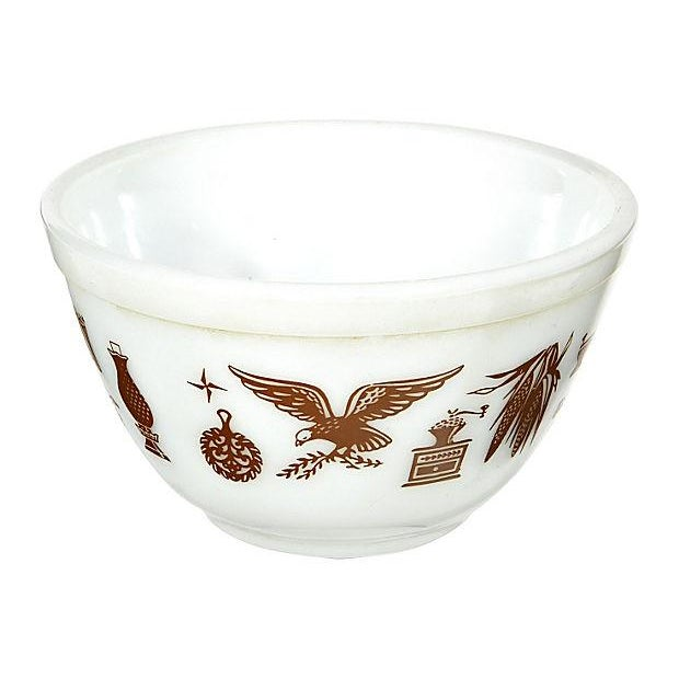 1960s brown designed small glass mixing bowl. Marked, Pyrex.