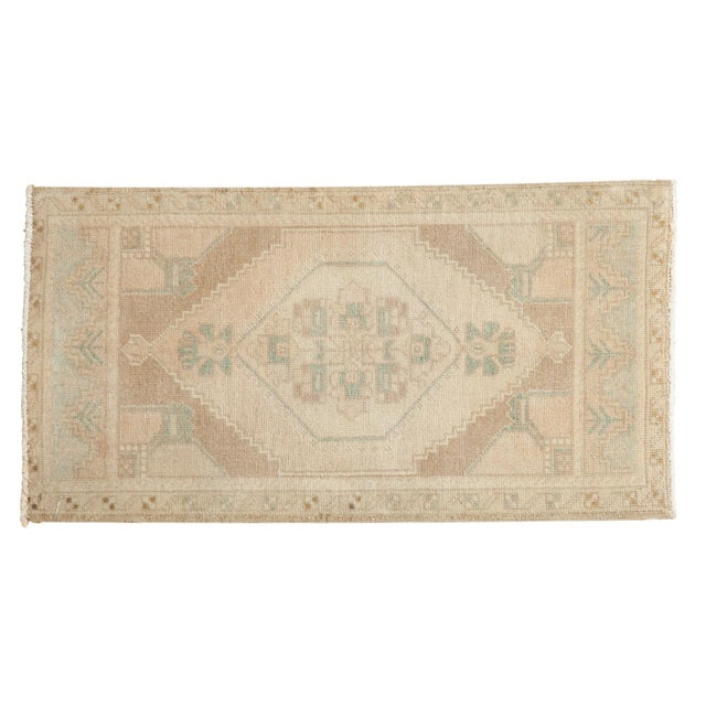 "Vintage Distressed Oushak Rug Mat - 1'7"" X 3' For Sale In New York - Image 6 of 6"