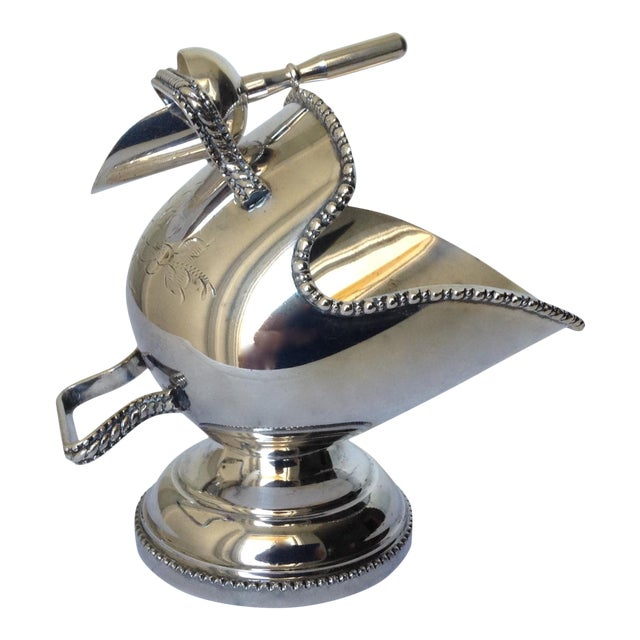 English Silver Plate Salt Cellar with Scoop For Sale