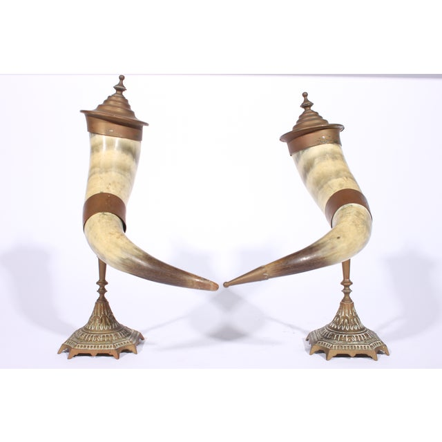 Victorian Brass Drinking Horns - Pair - Image 3 of 3