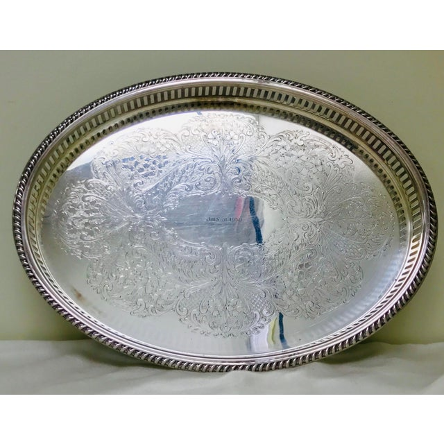 1950s Vintage Blackinton Silverplate Footed Gallery Tray For Sale - Image 10 of 10
