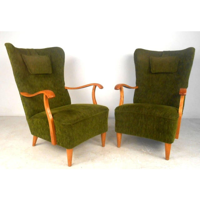 Mid-Century Modern Mid-Century Modern High Back Lounge Chairs - A Pair For Sale - Image 3 of 11