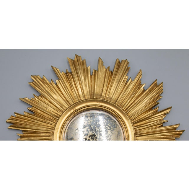 French Vintage French Gilt Sunburst Convex Mirror For Sale - Image 3 of 6