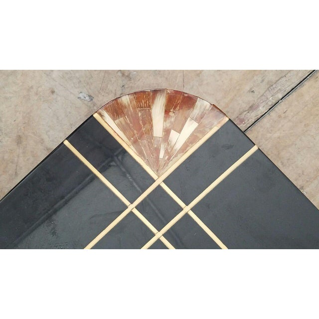 Mid-Century Black Lacquer Inlaid Brass and Tessellated Horn Coffee Table For Sale In Miami - Image 6 of 10