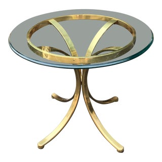 Maison Jansen Style Polished Bronze & Glass Top End Table For Sale