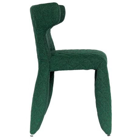 Contemporary Moooi Green Heathered Wool Upholstered Dining Chair For Sale - Image 3 of 5