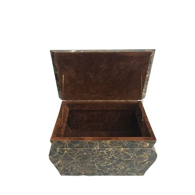 Antique Marble Hollywood Regency Mini Trunk - Image 8 of 9