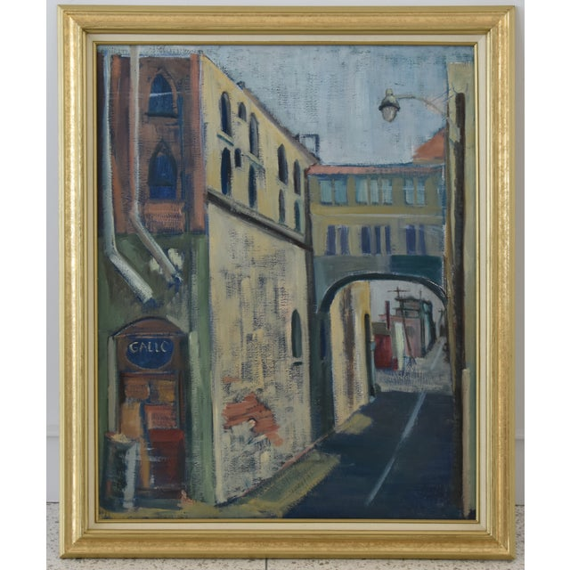 Vintage oil on canvas painting depicting a European village or town with a street and buildings. Unsigned. Displayed in a...