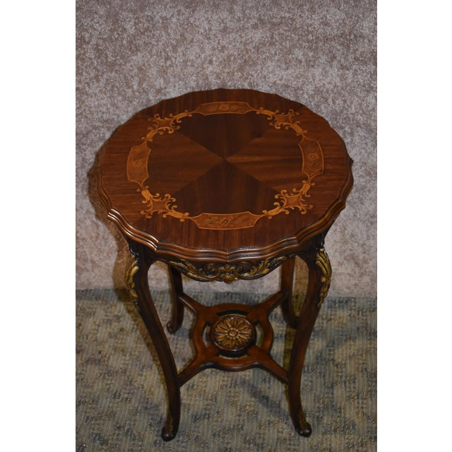 1950s French Carved & Inlaid Accent Table For Sale - Image 11 of 13
