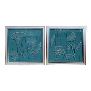 1970's Etched Floral Frosted Mirror Glass Wall Art - a Pair For Sale