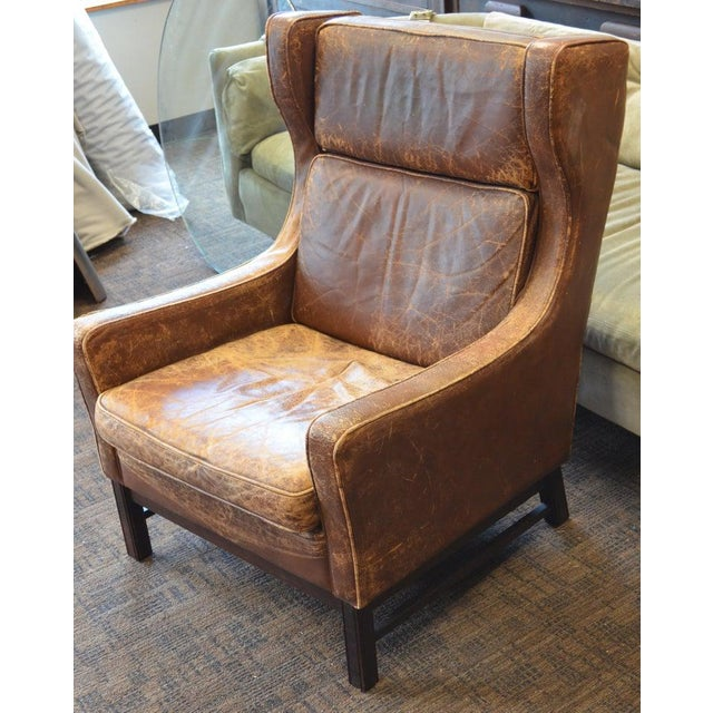 Club Chair of Worn Leather From Edwardian England, Wingback, Early 20th Century For Sale - Image 11 of 13
