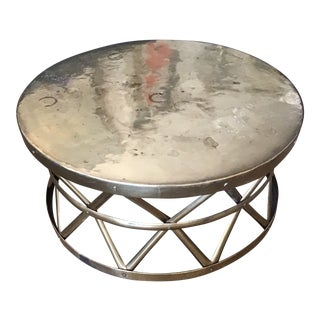 Brass Drum Cocktail Table For Sale
