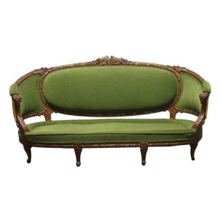 Carved Wood Frame & Green Upholstery Victorian Sofa For Sale