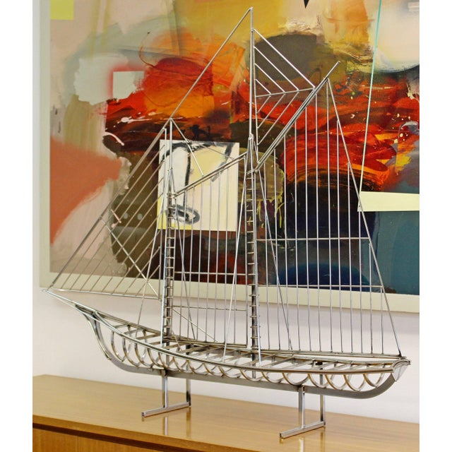 1970s Mid-Century Modern Chrome Sailboat Table Sculpture Signed Curtis Jere, 1970s For Sale - Image 5 of 9