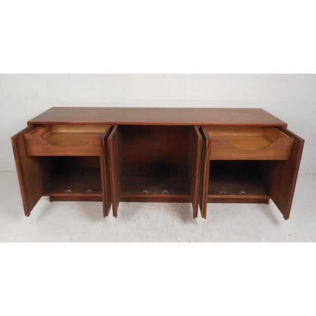 Vintage Modern Walnut Credenza With an Upholstered Front For Sale - Image 4 of 11