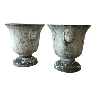19th Century Enameled Cast Iron Rouen Urns For Sale