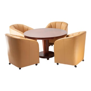 Baker Round Club Table with Leather Barrel Chairs - Set of 5 For Sale