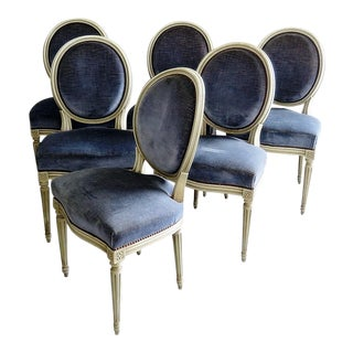 Vintage Mid Century Louis XVI Style Dining Chairs- Set of 6 For Sale