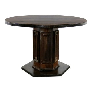 Spanish Colonial Revival Style Round Dining Table With Single Pedestal Style of Artes De Mexico Three Available For Sale