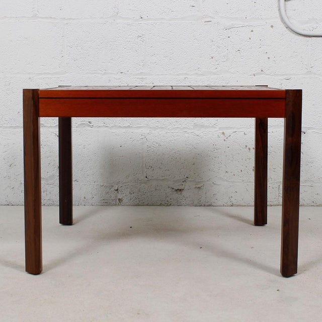 Danish Modern Accent Table with Tile Top For Sale In Washington DC - Image 6 of 8