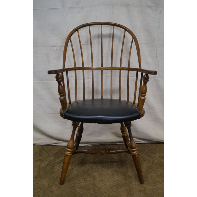 Frederick Duckloe vintage loop back arm chair with black leather seat. AGE/COUNTRY OF ORIGIN: Approx 40 years, America...
