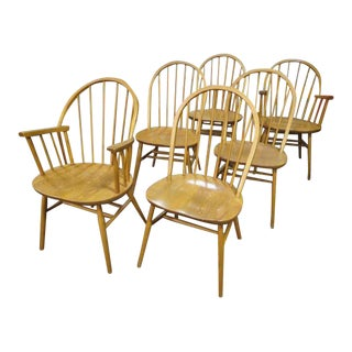 Vintage Style Windsor Style Dining Chairs- Set of 6 For Sale