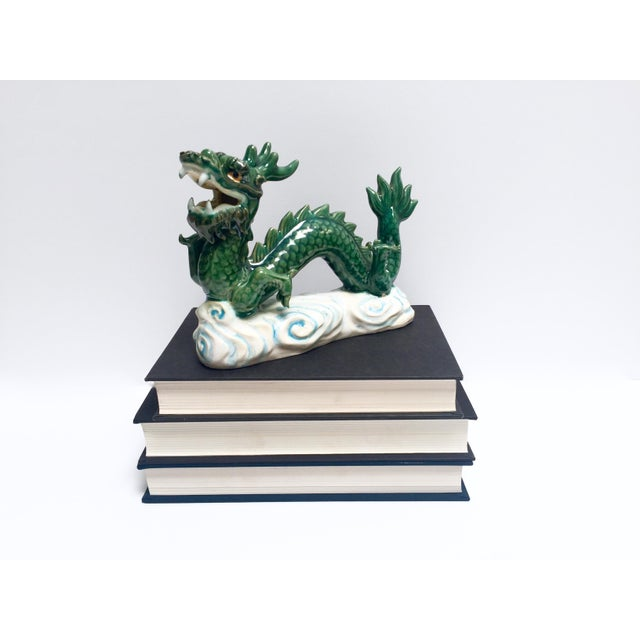 Vintage Hand Painted Ceramic Green Dragon Figurine - Image 3 of 8