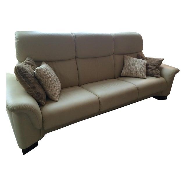 ekornes stressless paradise 3 seat leather sofa chairish