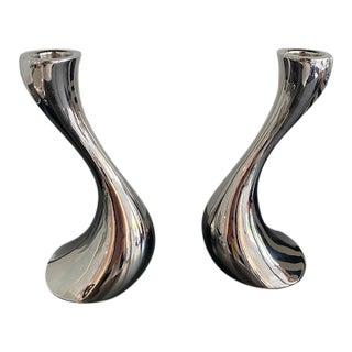 Georg Jensen Cobra Silver Candlesticks - a Pair For Sale