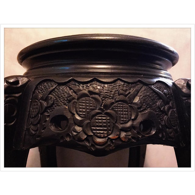 Asian Vintage Asian Chinese Carved Plant Stand Table For Sale - Image 3 of 11